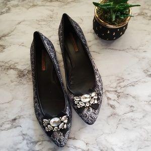 Via Spiga Silver Glitter Pointed toe flats Sz 10.5